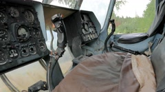 Cockpit of a military helicopter abandoned Stock Footage
