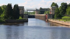 Ship comes to the gateway of the Moscow Canal Stock Footage