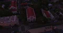 Aerial Rotating View of French Huguenot Church in Downtown Charleston Stock Footage