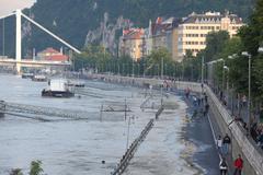 Flooded Budapest Street Stock Photos