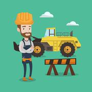 Confident builder with arms crossed Stock Illustration