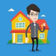 Real estate agent with key vector illustration Stock Illustration