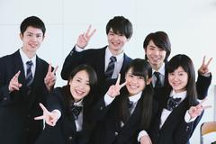 Japanese high-school students during a lesson Stock Photos