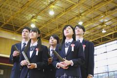 Japanese high school graduation ceremony Stock Photos