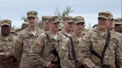 Group of soldiers stand together Stock Footage