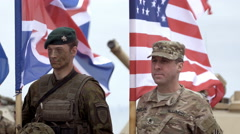 Soldiers stand and hold flags Stock Footage