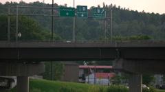 Traffic on Overpass Bridge. Stock Footage