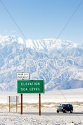 Elevation sea level sign, Death Valley National Park, California, USA Stock Photos