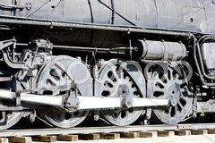 Detail of steam locomotive, Kingman, Arizona, USA Stock Photos