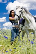 Equestrian with a horse on meadow Stock Photos
