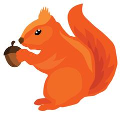 Vector squirrel with acorn Stock Illustration
