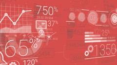 Red Corporate Background With Abstract Elements Of Infographics Stock Footage