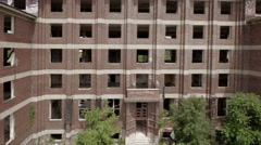 Aerial view of ruined building - industrial ruin Stock Footage