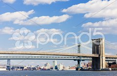 Brooklyn Bridge and Manhattan Bridge, New York City, USA Stock Photos