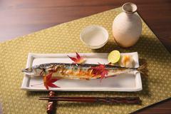 Japanese style Pacific saury dish Stock Photos
