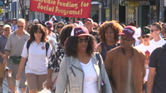Toronto labor day parade with thousands of workers marching Stock Footage