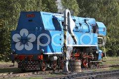 Steam locomotive called Parrot (477.043), depot Luzna u Rakovnika, Czech Republi Stock Photos