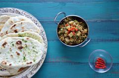Flat lay view of Indian Alu Methi cuisine Stock Photos