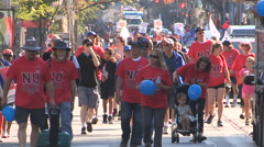 Unionized workers in Toronto labor day parade Stock Footage
