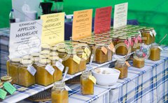 Marmelade, street market in Bergen, Norway Stock Photos