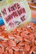 Prawns, street market in Bergen, Norway Stock Photos