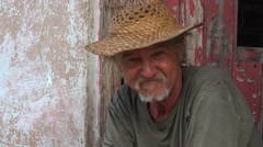 A friendly old man smiles in Trinidad, Cuba. Stock Footage