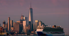 Cruise ship passes by World Trade Center in New York City Stock Footage