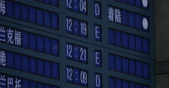 On electronic scoreboard in Seoul, South Korea at airport showing departure Stock Footage
