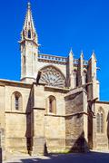 Medieval Gothic Cathedral, Carcassonne Stock Photos