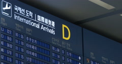 Flight schedule of international arrivals in Seoul airport Stock Footage