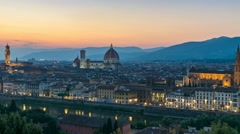 Florence skyline day to night timelapse, Florence, Italy, 4K Time lapse Stock Footage