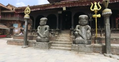 Entrance to the Temple Dattatreya in Bhaktapur, Nepal. Stock Footage