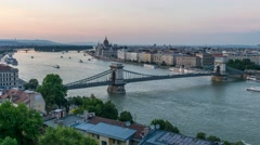 Budapest skyline day to night timelapse, Budapest, Hungary, 4K time lapse Stock Footage