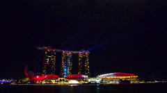Singapore 50 years National Day dress rehearsal Sands Hotel light show Stock Footage