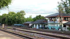 Train arriving Lampang train station. Stock Footage