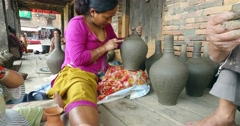 Unidentified nepalese people working in the pottery workshop. Stock Footage