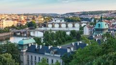Prague skyline day to night timelapse, Prague, Czech Republic, 4K Time lapse Stock Footage