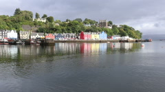 Tobermory waterfront, Isle of Mull, Scotland 3rd September 2016 Stock Footage