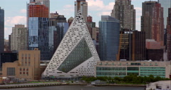 VIA 57 West building among other New York City skyscrapers and construction Stock Footage