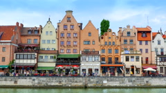 4K Tourists at Historic Waterside Port Town Architecture, Gdansk Poland Stock Footage
