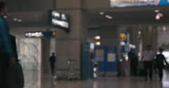 People and air crew in airport hall Stock Footage