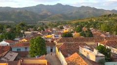 A beautiful sunrise or sunset view of the quaint charming city of Trinidad, Stock Footage