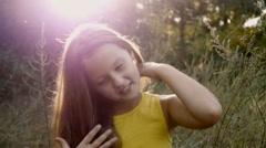 Beauty Girl with Healthy Long Hair Stock Footage