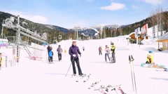 Russia, Sheregesh 26 march 2015. Mountains ski resort Sheregesh - nature and Stock Footage