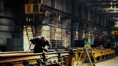 Welding metal procces on the factory Stock Footage