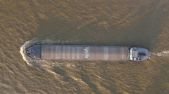 Aerial shot of barge cruising on the Danube river Stock Footage