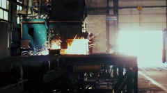 Welding metal procces on the factory with machine Stock Footage