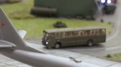 Military bus and Truck at military airfield Stock Footage