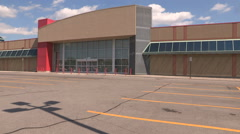 Abandoned  and closed retail big box store in recession Stock Footage