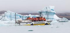 JOKULSARLON, ICELAND - JULY 21, 2016: Jokulsarlon Glacial Lagoon Boat Tour in Stock Photos